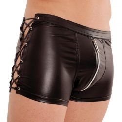Wetlook boxer met veters