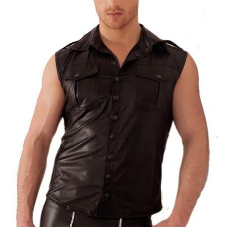 Mouwloos wetlook shirt met borstzakken