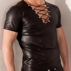 Wetlook shirt met veter hals