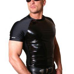 Shirt met zwart lak front