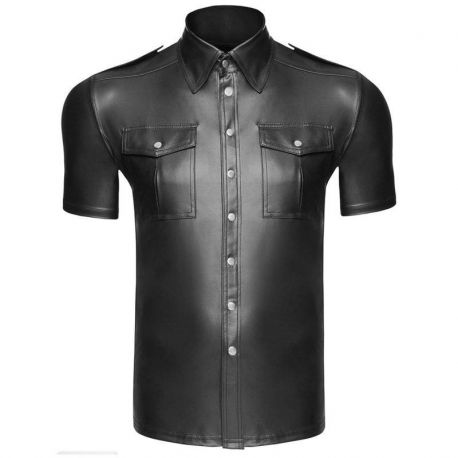 Wetlook shirt met borstzakken