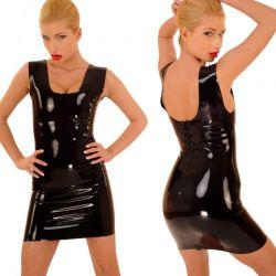Latex jurkje met schouderbandjes