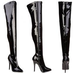 Glanzend zwarte dij hoge laarzen