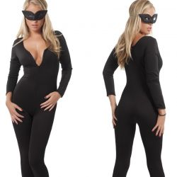 Zwarte stretch catsuit