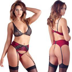 Zwart-rood lingerie setje