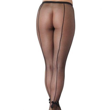 Zwarte panty met naad en strikjes