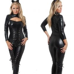 Wetlook catsuit met linten