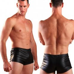 Zwarte leatherlook boxer
