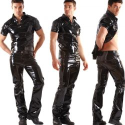 Lak broek boot-cut model