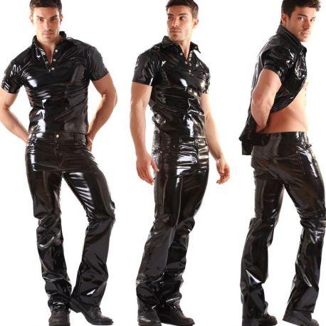 Lak broek boot-cut model