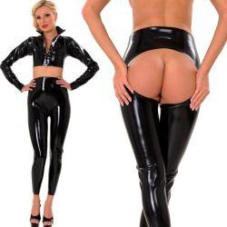 Latex legging met open achterzijde