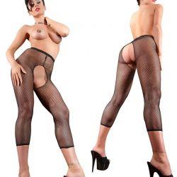 Zwarte net legging ouvert