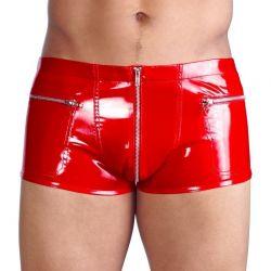 Rode lak short met ritsen