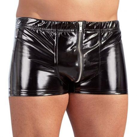 Zwarte lak short met rits