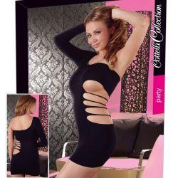 Zwart elastisch jurkje met één mouw