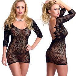 Zwart elastisch jurkje rugvrij