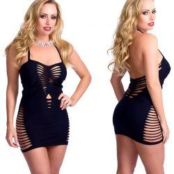 Zwart elastisch jurkje met openingen