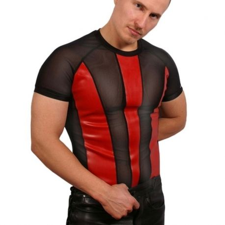 Transparant shirt met latex panelen