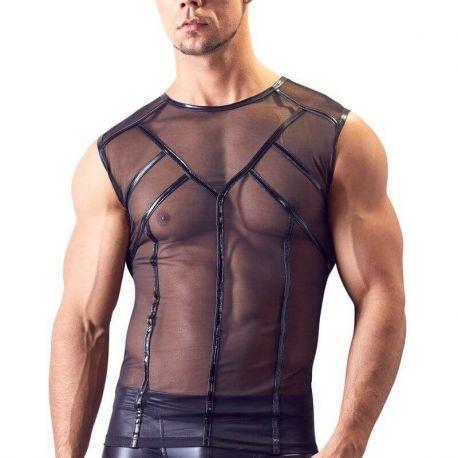 Transparant mouwloos zwart shirt