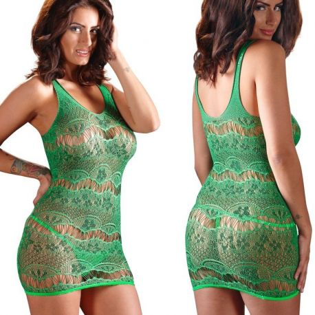 Elastisch groen net jurkje