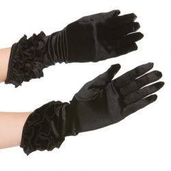 Zwarte handschoentjes in satijn look