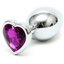 Stalen buttplug met paars hart kristal