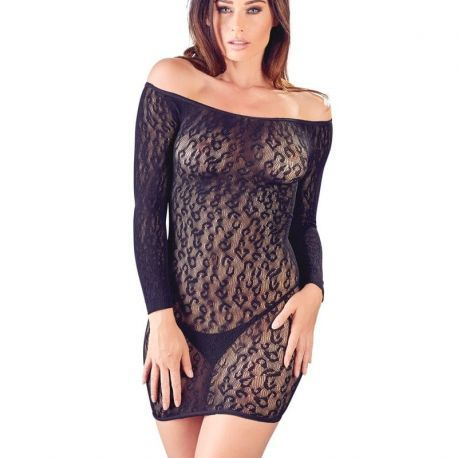 Zwart elastisch jurkje met lange mouwen
