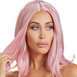 Pruik halflang roze haar