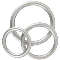 Zilverkleurige cock ring set