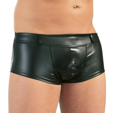 Wetlook heren boxer met riemlussen