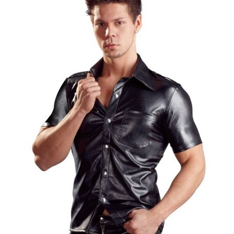 Leatherlook shirt met korte mouwen