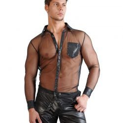 Zwart transparant shirt met wetlook
