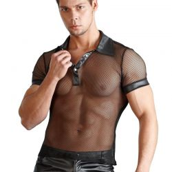 Zwart net shirt met wetlook