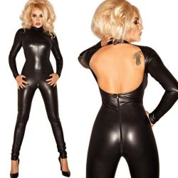 Wetlook catsuit rug vrij